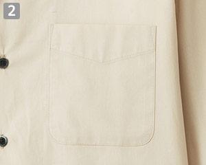 イタリアンカラー七分袖シャツ(34-FB5034M)の商品詳細「左胸アウトポケット」