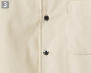 イタリアンカラー七分袖シャツ(34-FB5034M)の商品詳細「黒ボタン」
