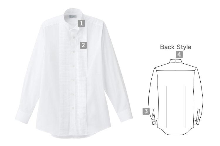シワ・汚れに強い!上品なピンタックウィングカラーシャツ(34-FB5045M)の詳細