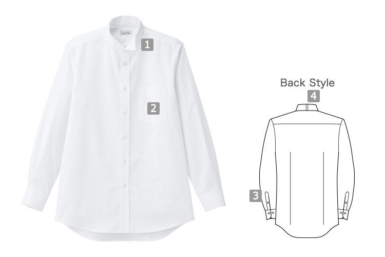 シワ・汚れに強いウィングカラーシャツ(34-FB5046M)の詳細