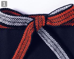 帆前掛けロングタイプのポイント�裏表で配色が異なる腰紐