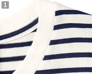 ボーダーTシャツのポイント�襟ぐりがホワイト仕様