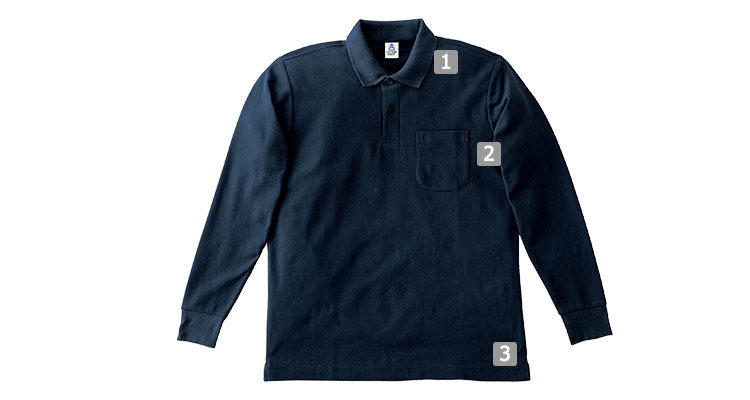 鹿の子ドライ長袖ポロシャツの商品詳細(34-ms3115)