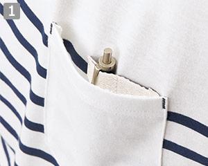 ボーダーカットソー�ペン挿しループ付きポケット