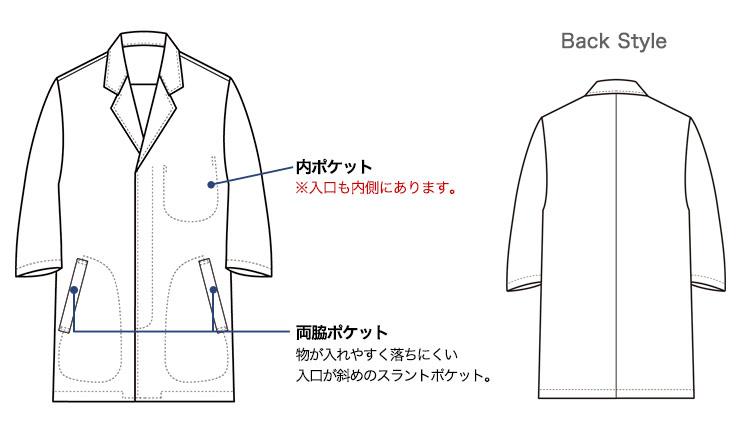 セブンユニフォームの長袖白衣(35-AA0319)画像
