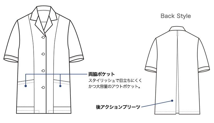 セブンユニフォームの半袖白衣(35-AA0337)画像