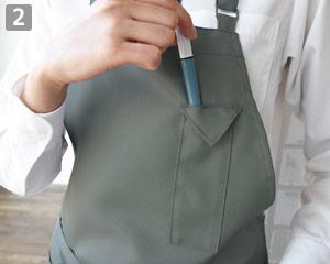 胸当てロングエプロンのポイント�ペン挿しポケット
