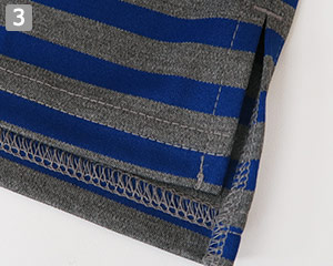 ボートネックTシャツのポイント�スリット入りの裾