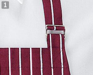 ストライプ柄胸当てエプロン(35-WT7815)の商品詳細「首かけDカン調節」