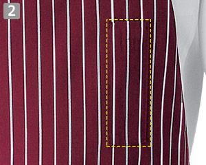 ストライプ柄胸当てエプロン(35-WT7815)の商品詳細「左胸ペン差しポケット」