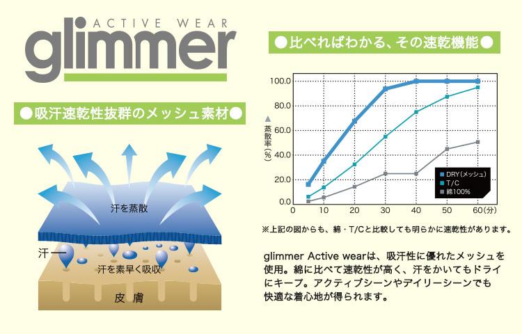 吸汗速乾性抜群のメッシュ素材glimmerシリーズの画像