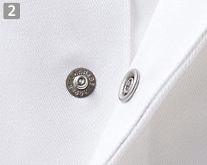 襟なし調理衣のポイント�スナップボタン