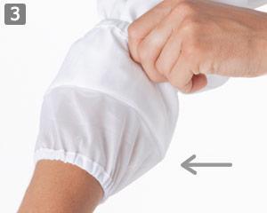 体毛落下防止の袖口ネット付き(71-1-571)