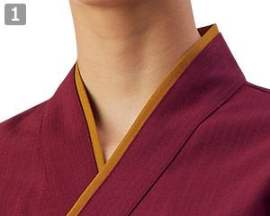 作務衣のポイント�重ね襟風デザイン