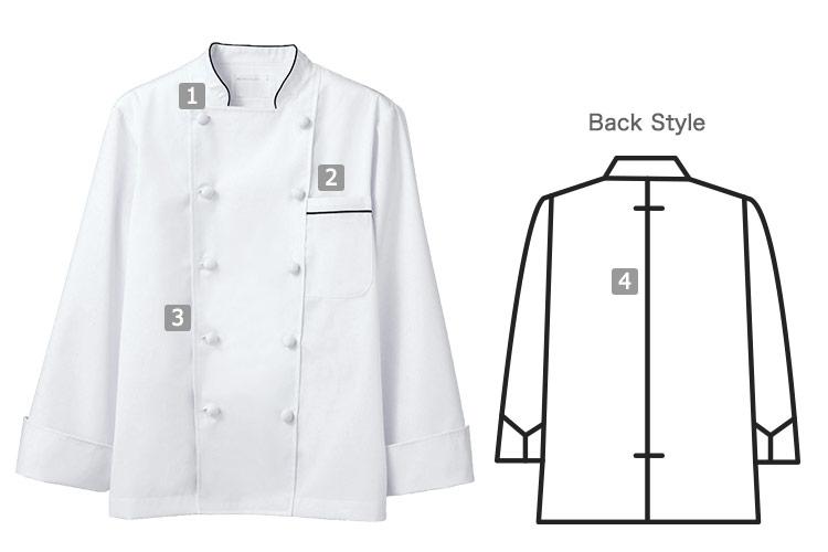 涼感長袖コックコートの商品詳細