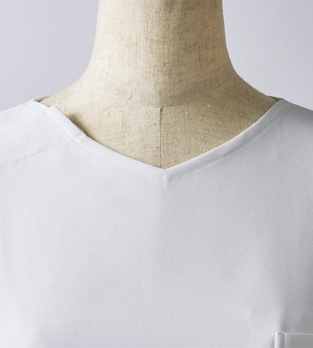 すっきりとした襟元のイメージ図