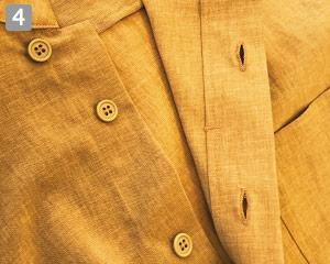 オニベジスタンドカラーシャツのポイント�比翼ボタン