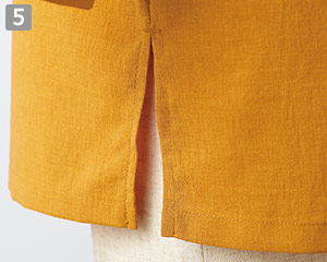 オニベジスタンドカラーシャツのポイント�両裾スリット入り