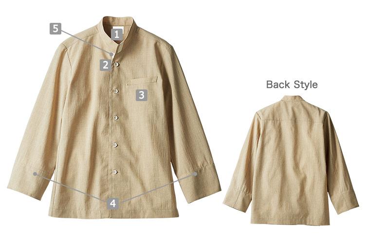 オニベジスタンドカラーシャツ(71-OV6501)のおすすめポイント