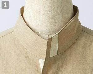 オニベジスタンドカラーシャツのポイント�襟元の配色デザイン