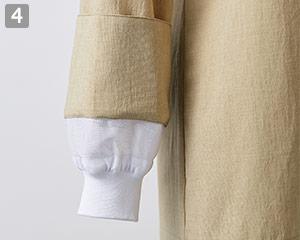 オニベジスタンドカラーシャツのポイント�袖口内側ネット付き