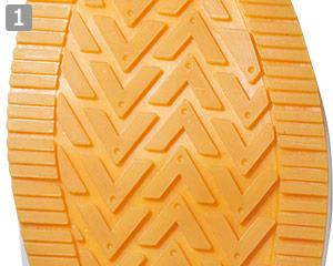 厨房シューズのポイント�滑りにくいゴム製の靴底