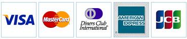 各種クレジットカードでの支払い可能!VISA,Mastercard,AmericanExpress,JCB,DinersClub