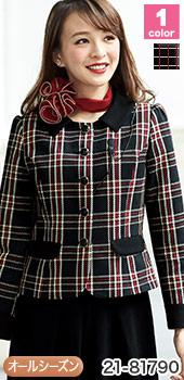 EN JOIE(アンジョア)の事務服 ブリティッシュチェック柄の大人可愛いジャケット 21-81790