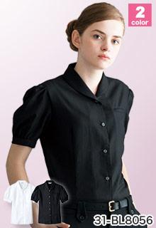 arbe(チトセ)の事務服 カルゼ生地のショールカラー半袖ブラウス 31-bl8056