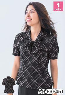 事務服 リボン付きポロシャツ(A9-ESP451)