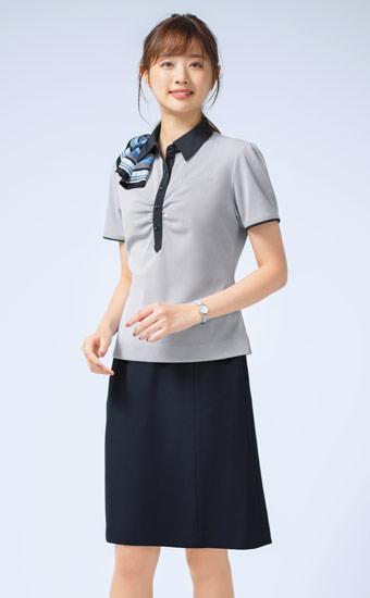 クールビズ事務服 スカーフ付きポロシャツ(A9-ESP453)