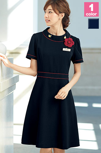 EN JOIE(アンジョア)の事務服 ネイビー×赤のフレアライン・ワンピース 21-66460