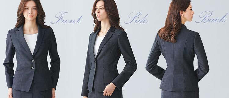 美シルエットにこだわったシンプルな事務服モデル画像