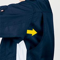 アクションプリーツ(メッシュ)で肩や腕が動かしやすい