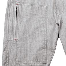 右カーゴポケットは縦ファスナー仕様。