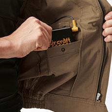 左内側バッテリーポケット(ドットボタン止め)
